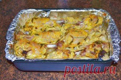 Курица с картошкой и цветной капустой в духовке. Рецепт. Фото