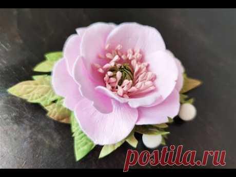 Удивительные цветы из фоамирана 🌸 Заколка 🌸 Анемон