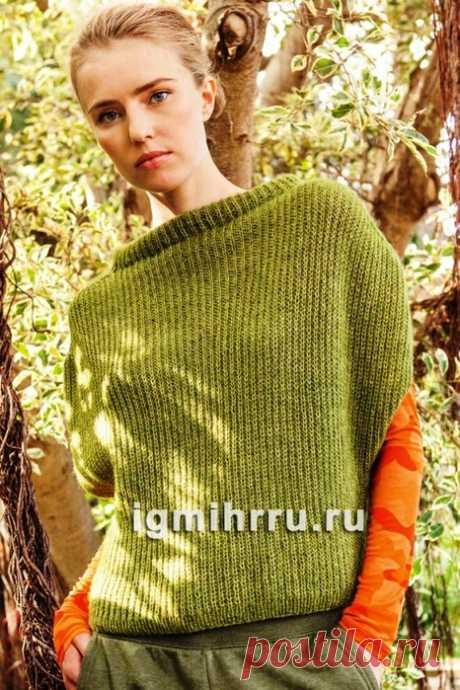 Зеленый жилет-пуловер