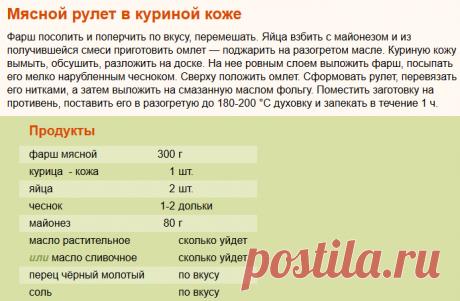 Рецепт: Мясной рулет в куриной коже на RussianFood.com