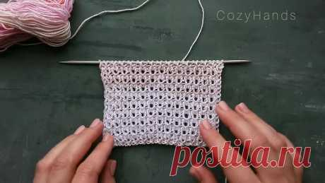Очень простой и легкий ажурный узор на основе резинки для вязания летних топов,