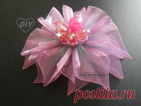 Цветок из органзы (лента) МК/ DIY Organza Flower/ PAP Flor de Organza Tutorial #119