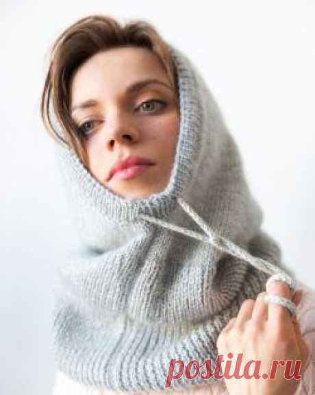Как связать на спицах зимний капор из двух видов пряжи своими руками фото-мастер-класс от Леонардо
