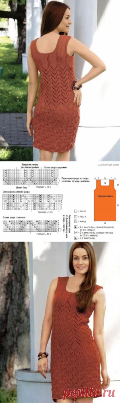 Вязание крючком и спицами - Платье фантазийным узором с ажурными дорожками