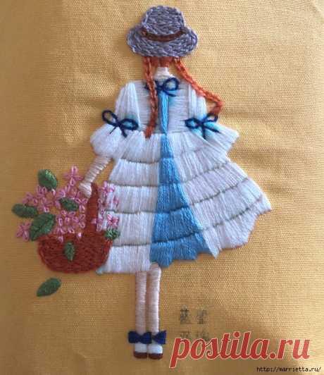 Девочка с корзиной цветов. Красивая вышивка