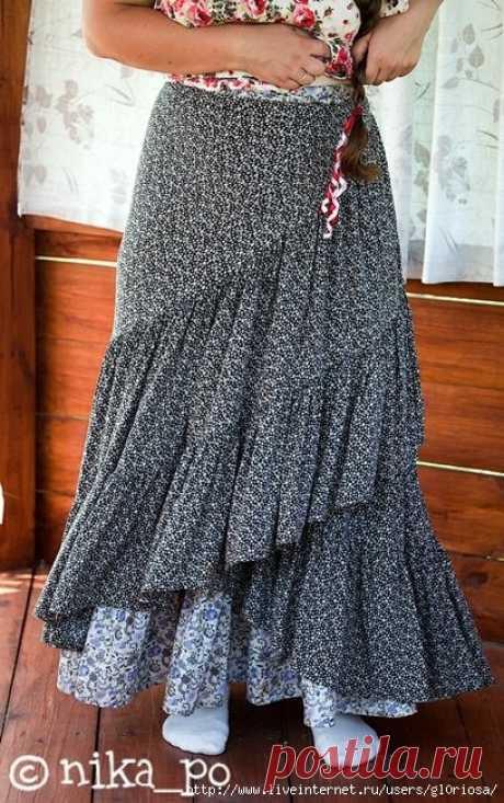 Как быстро сшить летнюю длинную юбку своими руками без выкройки?