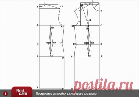 Моделирование выкройки джинсового женского сарафана