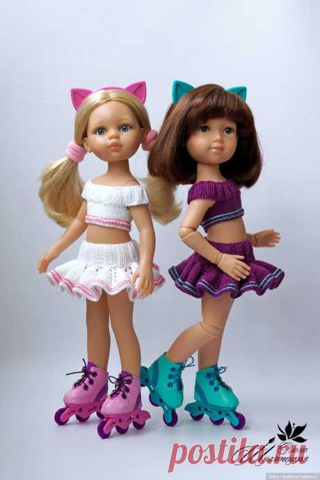 МК - Летний комплект спицами для Paola Reina / Вязание для кукол / Бэйбики. Куклы фото. Одежда для кукол