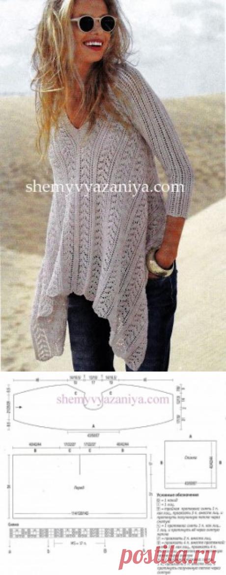 Белый пуловер с асимметричным краем