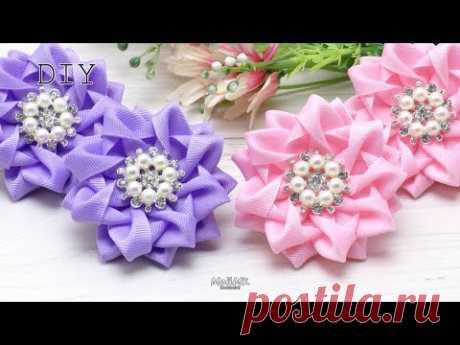 Красивые бантики резинки Канзаши МК Cute Bows Kanzashi DIY