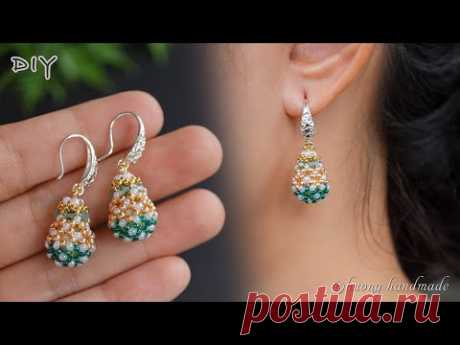 Waterdrop beaded earrings. How to make beaded earring. Jewelry making