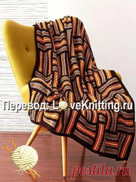 Плед паркетным узором | Loveknitting.ru