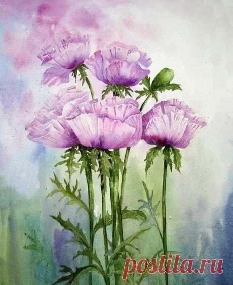 уроки рисования: Цветы акварелью