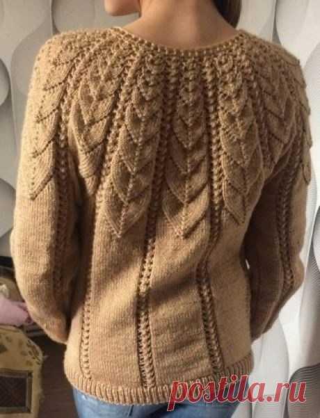 Роскошный пуловер с узорчатой кокеткой. Схема кокетки (Вязание спицами) — Журнал Вдохновение Рукодельницы