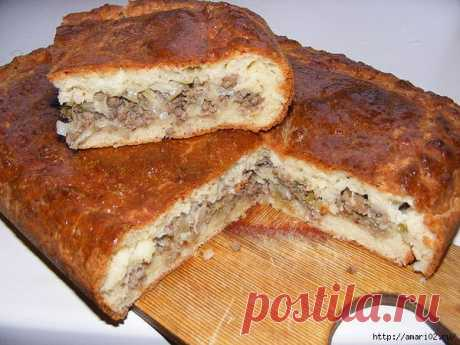 El pastel slo±no-de arena con la carne-de col por el relleno.