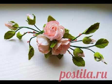 Шпилька в прическу с цветами из фоамирана мастер класс