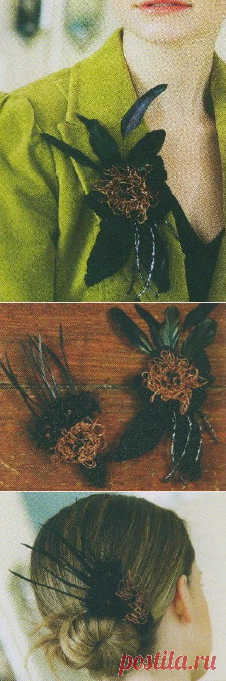 Вязанные броши с цветком: как связать такую брошь   Уроки вязания для начинающих бесплатно. Вязание спицами, крючком.