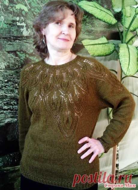 . Пуловер с листьями от Amu - моя версия - Вязание - Страна Мам