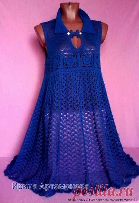 Платье (туника) крючком. Автор Ирина Артамонова