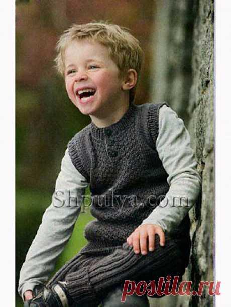 Серый жилет на пуговицах для мальчика — Шпуля - сайт о вязании