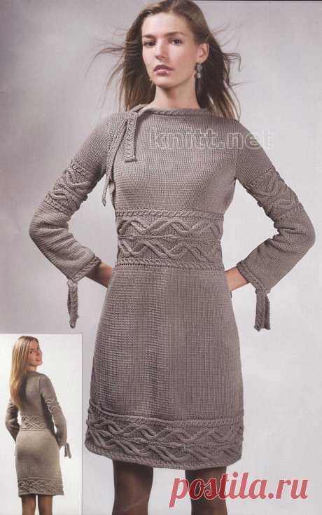 Серое платье с косами. Оригинальное и совсем не трудное в исполнении платье связано хлопчатобумажными нитками при помощи спиц. Рекомендуем как опытным