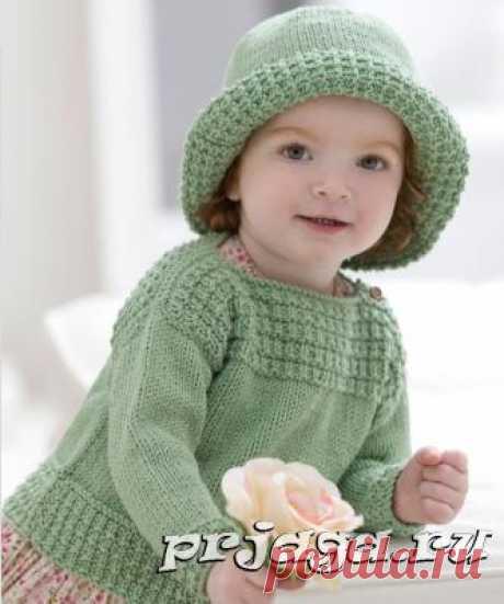 Детская кофточка и шляпа спицами, комплект «Панночка»