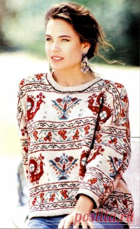 Жаккардовый свитер из очень редкого журнала по вязанию за 2008 год