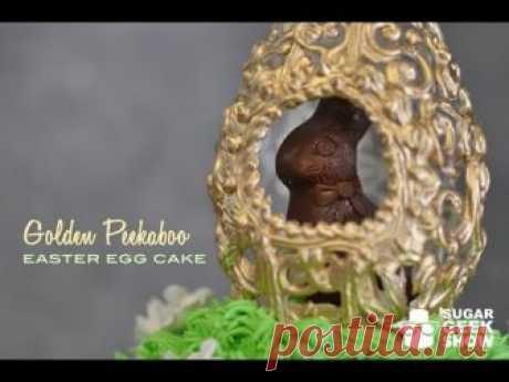 Golden Peekaboo Easter Egg Cake