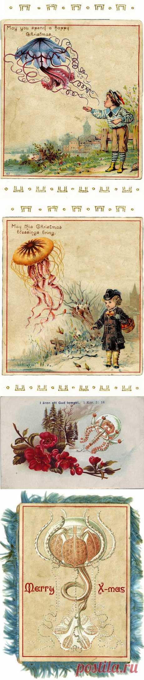 Ernst Haeckel's Christmas Cards викторианского времени.