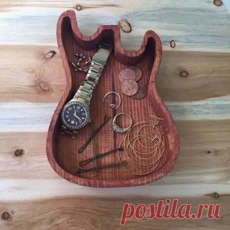 Wooden Guitar Dish Wooden Ring Dish Catch All Dish Trinket