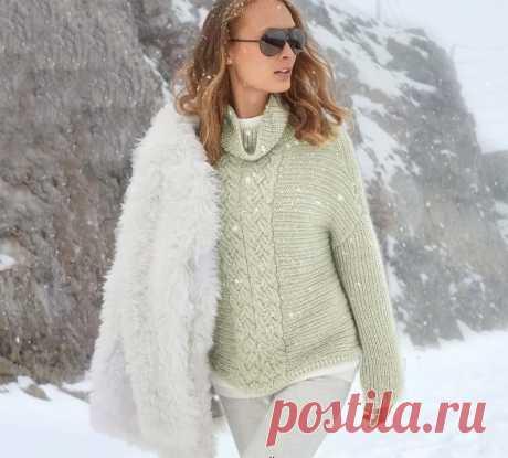 Ребристый пуловер с центральной «косой» - Вязаные модели спицами для женщин