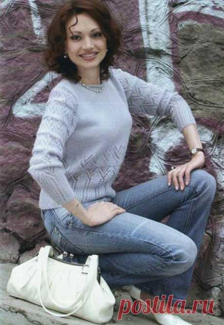 Женственный пуловер с ажурными узорами спицами – 6 моделей со схемами и описанием — Пошивчик одежды