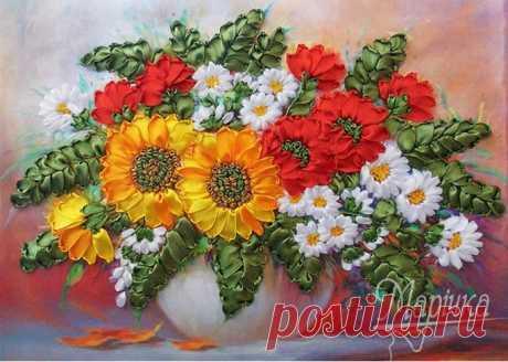 Вышивка лентами цветы для начинающих, рекомендации в необычной технике, схемы и фото композиций полевых букетов