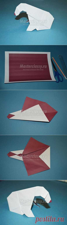 Оригами для детей. Белый медведь. Мастер-класс с пошаговыми фото