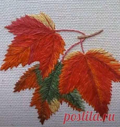 Вышиваем гладью осенние листья