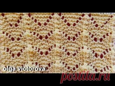 Ажурный Зигзаг на платочной вязке 650 Узоры Вязание спицами
