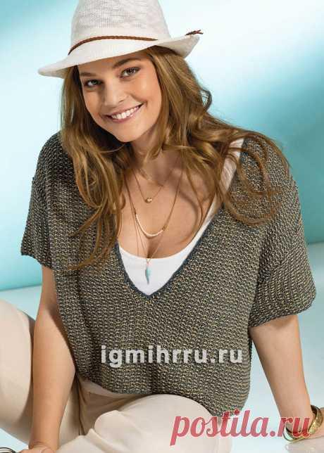 Для полных дам. Короткий пуловер с двухцветным жемчужным узором. Вязание спицами со схемами и описанием