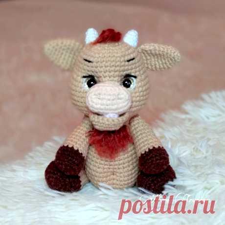 PDF Бычок Лаврик крючком. FREE crochet pattern; Аmigurumi animal patterns. Амигуруми схемы и описания на русском. Вязаные игрушки и поделки своими руками #amimore - корова, коровка, телёнок, бык, маленький бычок.