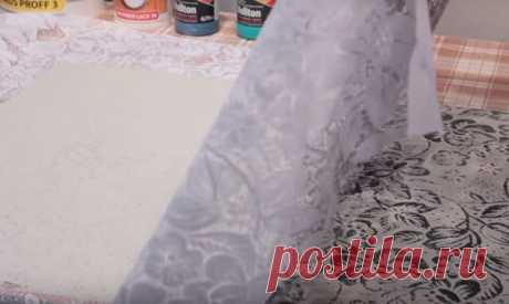🖌 Как я сделала кружевную штукатурку на стене из старой занавески