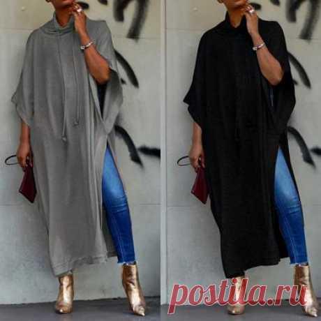 ZANZEA пикантные женские туфли с воротником-стойкой и рукавами летучей мыши с высоким разрезом, свободная длинная блузка, рубашка S-5XL – купить по низким ценам в интернет-магазине Joom