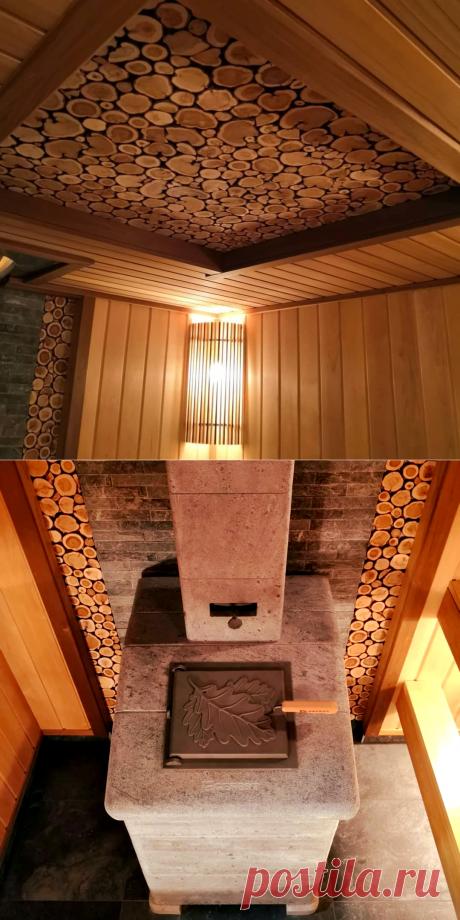 Обзор бани с потолком из спилов можжевельника | Печи Gefest: о бане с любовью | Яндекс Дзен