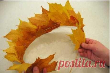 Корона из осенних листьев - Поделки с детьми   Деткиподелки