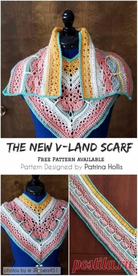 The New V-Land Scarf with Free Pattern #crochet #crochetscarfpattern #freecrochetpattern #scarf #lovecrochet #crafts #homemade #fashion #crochetstyle #crochetfashion