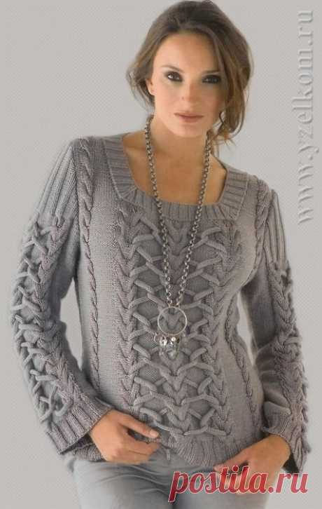 Пуловер из кос со шнурами.
