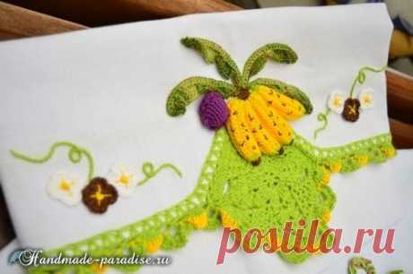 Kitchen towel with bananas and a binding a hook - Handmade-Paradise the Kitchen towel with bananas and a binding a hook - beautiful idea of dressing of a towel, napkin or cloth for decoration of an interior or creation of a gift