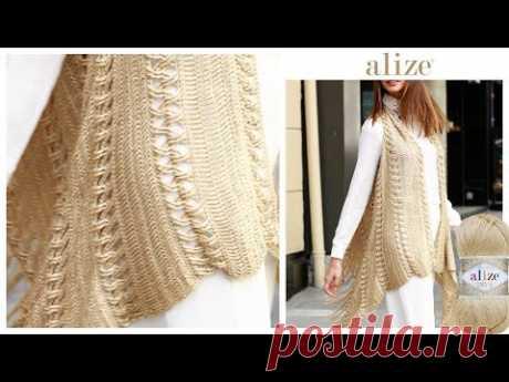 Alize Diva ile Tığ İşi Püsküllü Yelek - Crochet Fringe Vest with Alize Diva