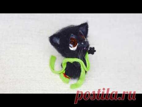 Мастер-класс по сухому валянию из шерсти. Грустный черный Кот.
