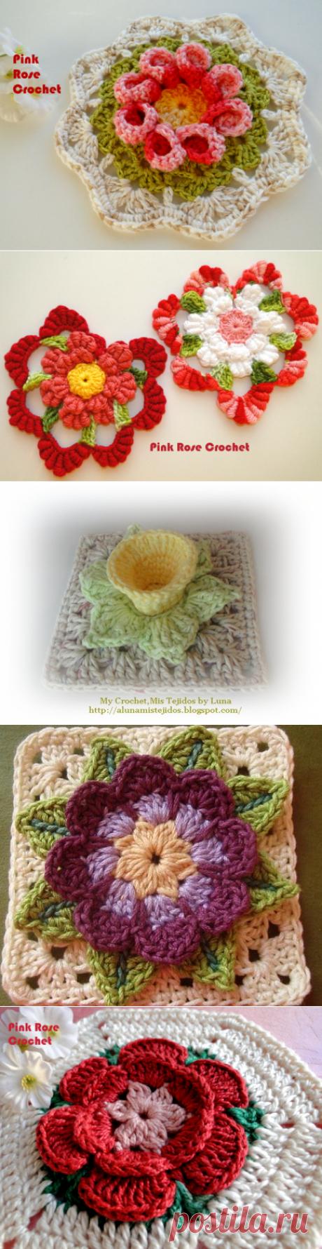 Мотивы с объемными цветами для салфеток и пледов — Делаем руками