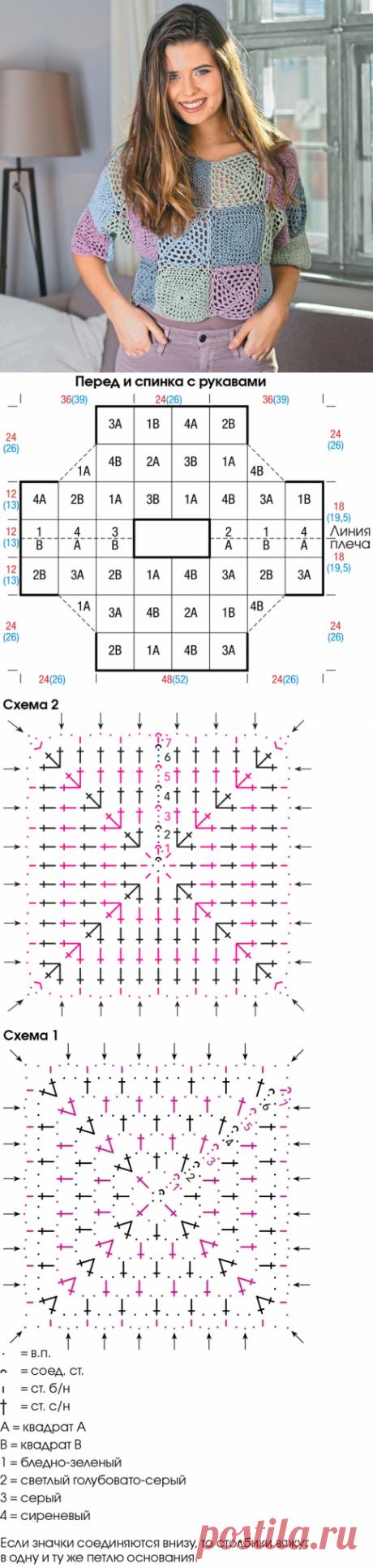 crochelinhasagulhas: Blusa colorida em crochê com square
