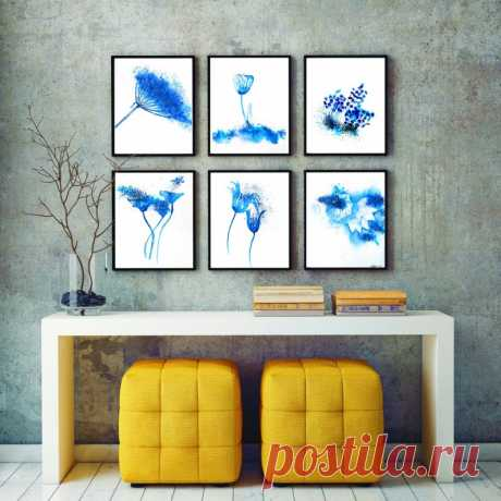 Abstract Watercolor set of 6 prints wall art flower   Etsy